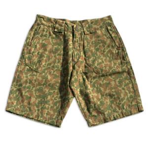 branded denim camo shorts