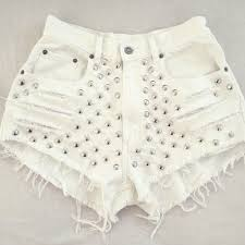 distressed white high waisted denim shorts