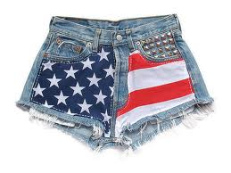 high waisted american flag denim shorts