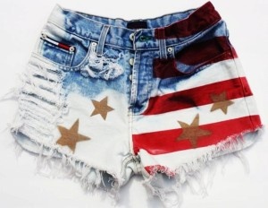 patriotic denim American flag shorts