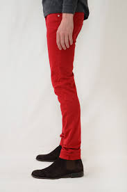 sateen red skinny jeans for men