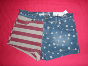 simple American flag shorts denim