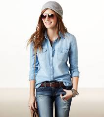 simple womens denim shirt