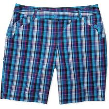 sized womens plaid bermuda shorts