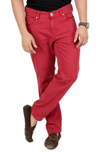 straight red denim jeans for men