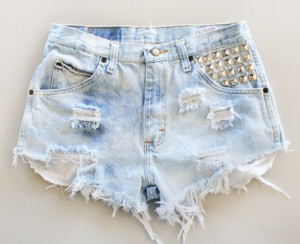 studded denim high waisted shorts